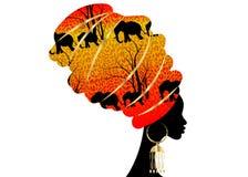 Kvinna för härlig kontur för stående afrikansk i traditionell turban, afrikan för Kente huvudsjal, traditionell dashikiprinting,  vektor illustrationer