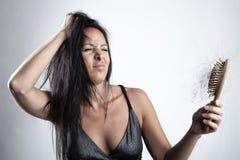 kvinna för hårförlust Arkivbild