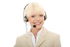 kvinna för hörlurar med mikrofon för felanmälansmitt Royaltyfri Foto