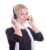 kvinna för hörlurar med mikrofon för felanmälansmitt Arkivfoton