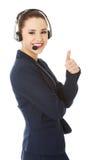kvinna för hörlurar med mikrofon för felanmälansmitt Fotografering för Bildbyråer