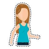 Kvinna för halv tecknad film för kropp för klistermärke caucasian ansiktslös i tillfällig dräkt royaltyfri illustrationer