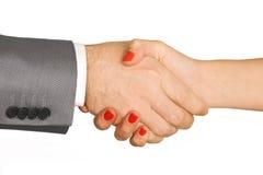kvinna för handel för man för handskakning för avtal för fördragöverenskommelseaffär Arkivbild