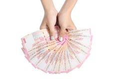 kvinna för handholdingpengar s Arkivfoton