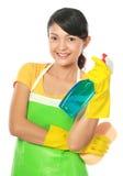 kvinna för hjälpmedel för cleaningholdingsprejare Arkivfoton