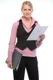 kvinna för holding för förlageanställdmapp arkivbild