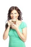 kvinna för holding för kaffekopp royaltyfri fotografi