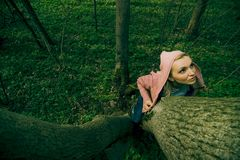 kvinna för holdingtreestam Arkivbilder