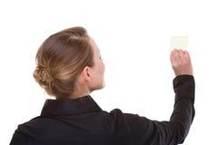 kvinna för informationspapperen arkivfoton