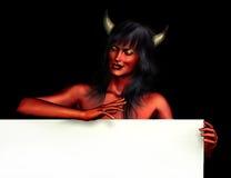 kvinna för jäkelkanttecken Royaltyfri Fotografi