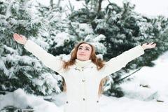 Kvinna för jul Girl.Winter Arkivbilder