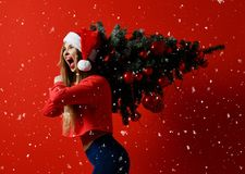Kvinna för julkonditionsport som bär den santa hatten som rymmer xmas-trädet på hennes skuldror snowflakes royaltyfri bild