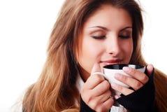 kvinna för kaffekopp Royaltyfri Foto