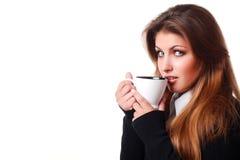 kvinna för kaffekopp arkivbild