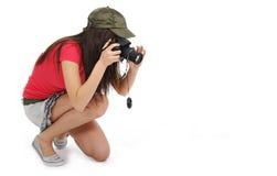 kvinna för kameraholdingfoto Arkivbilder