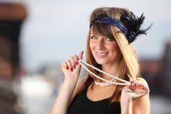 Kvinna för klaffflickatappning i 20-talstil Gdansk Fotografering för Bildbyråer