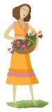 kvinna för kulöra blommor för korg mång- Royaltyfri Foto