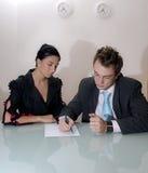 kvinna för lag för affärsman Royaltyfri Bild