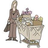 Kvinna för livsmedelsbutikshopping Arkivbild