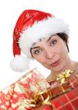 kvinna för lock s santa Arkivfoto