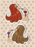 kvinna för makeup för läppstift för teckningshandillustration Arkivbild
