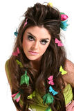 kvinna för makeup för modefrisyr hög fotografering för bildbyråer