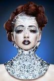 kvinna för makeup för skönhetkristallframsida arkivfoto