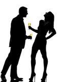 kvinna för man en för par dricka Arkivbild