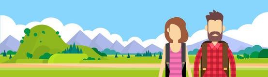 Kvinna för man för handelsresandepar utomhus- fotvandra vektor illustrationer