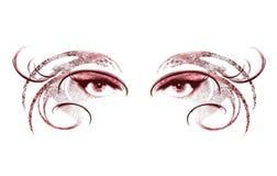 kvinna för maskering för 2 ögon slitage Arkivbilder