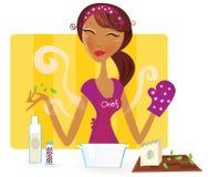 kvinna för matlagningkökmål royaltyfri illustrationer