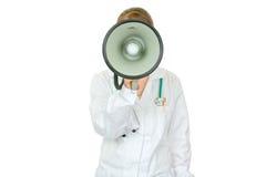 kvinna för medicinsk megafon för doktor talande royaltyfria foton