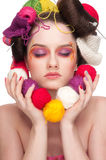 kvinna för mode för konstfärgframsida Royaltyfria Bilder