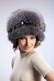 kvinna för pälshatt Royaltyfri Fotografi