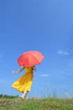 kvinna för paraply för röd sky för oklarhet plattform Arkivbild
