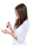 kvinna för pitt för lancet för sockersjukafingerhand arkivbilder