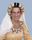 kvinna för pontremoli för dräktfestival mediaeval Arkivfoton