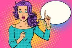 Kvinna för popkonst som pekar upp fingret stock illustrationer