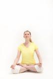 kvinna för pos. för lotusblomma meditera fridfull Arkivbild