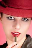 kvinna för röd sensuality för hattstående stilfull royaltyfri bild