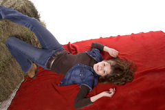 kvinna för red för filtfothö Royaltyfri Fotografi