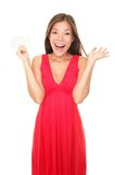 kvinna för red för kortklänninggåva Royaltyfri Bild