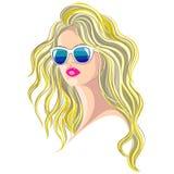 kvinna för rengöringsduk för mall för sida för hälsning för bakgrundskortframsida universal Vektorflicka med solglasögon vektor illustrationer