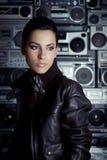 kvinna för rock för bakgrundsbangask royaltyfria foton
