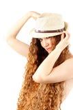 kvinna för sensuality för modehårhatt lång arkivfoton