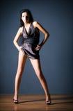kvinna för sexig kortslutning för klänning slank arkivbild