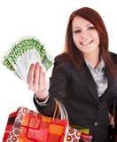 kvinna för shopping för påseaffärspengar Fotografering för Bildbyråer