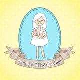 Kvinna för sjukvård för whith för hälsningkort Royaltyfria Bilder