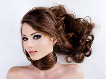 kvinna för skönhetframsidahår royaltyfri foto