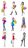 kvinna för skönhettecknad filmsymbol stock illustrationer